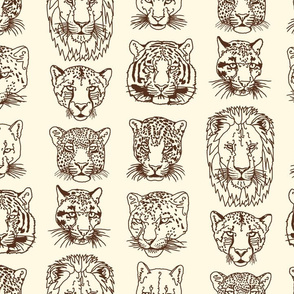kickass kitties-brown on ivory