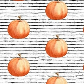 Pumpkins on Grunge Black and White Stripes