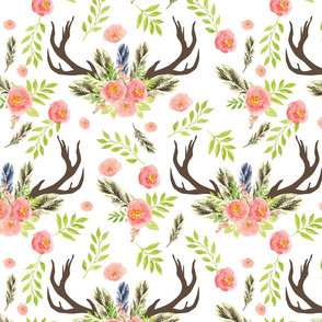 Silhouette of antlers with watercolor floral and Feather, Boho Antlers