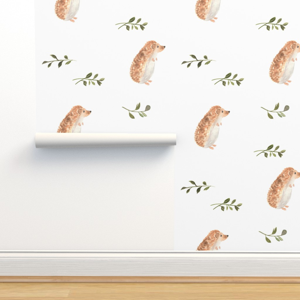 Isobar Durable Wallpaper featuring Curious Hedgehog Smaller Scale by pacemadedesigns