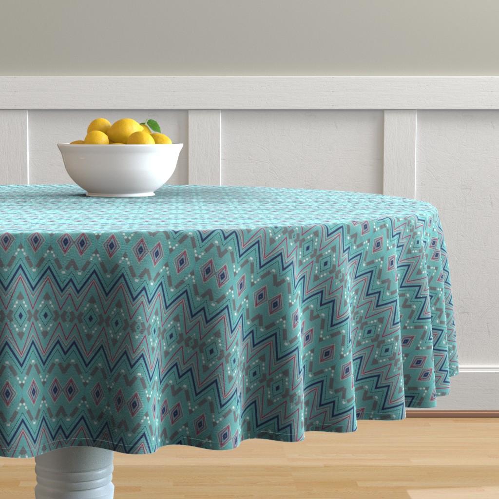 Malay Round Tablecloth featuring Aqua by rissocodesigns