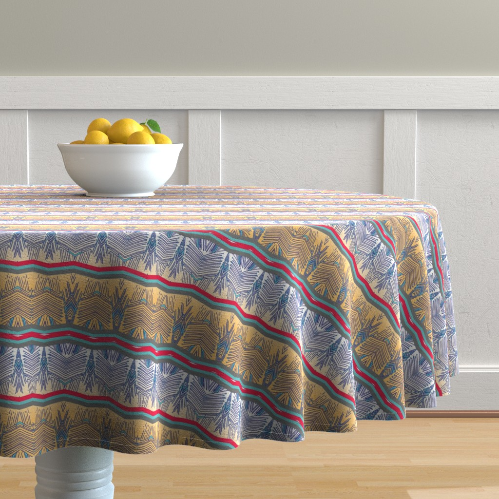 Malay Round Tablecloth featuring techstripe by rissocodesigns