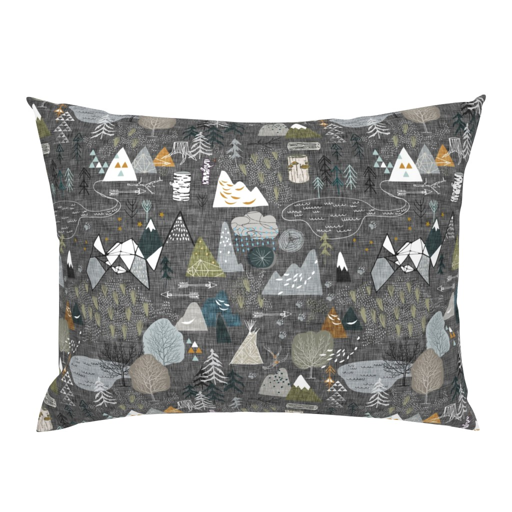 Campine Pillow Sham featuring Max's Map (charcoal) by nouveau_bohemian