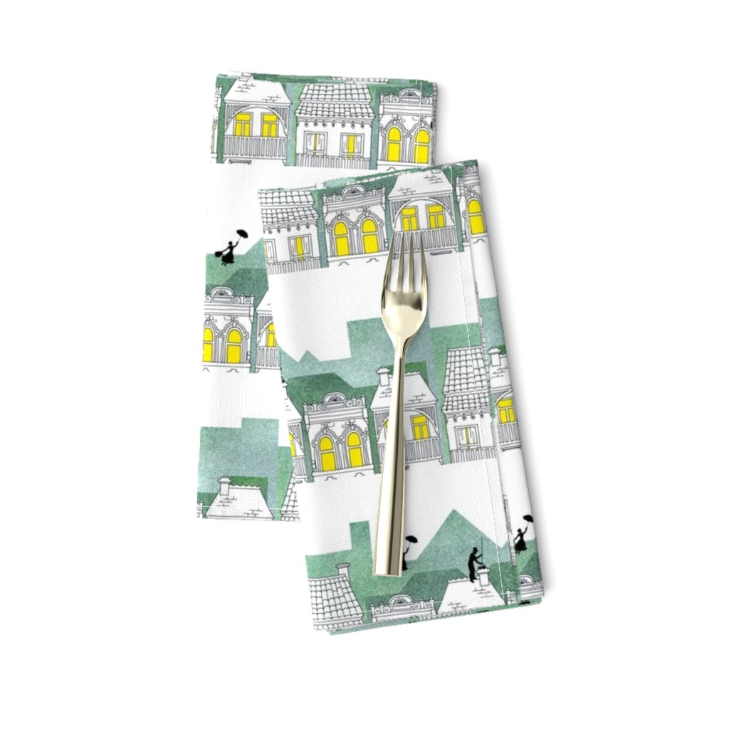 Amarela Dinner Napkins featuring Mary Poppins (border print) by delsie