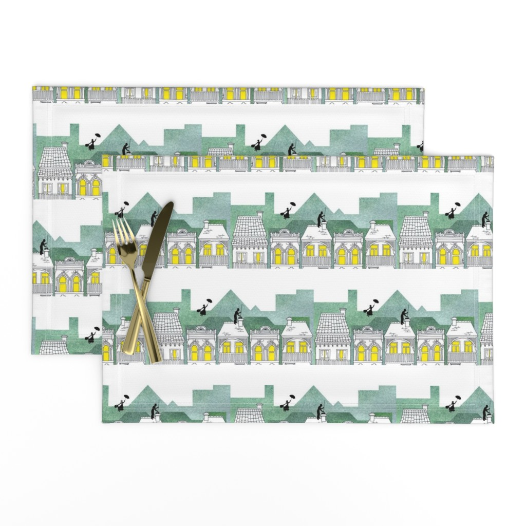 Lamona Cloth Placemats featuring Mary Poppins (border print) by delsie