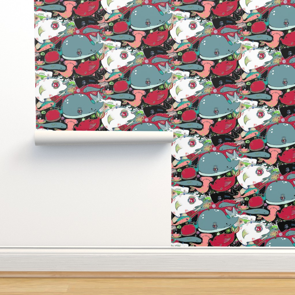 Isobar Durable Wallpaper featuring whale narwhal hammerhead shark sealife, red blue green black pink turquoise coral white gray by amy_g