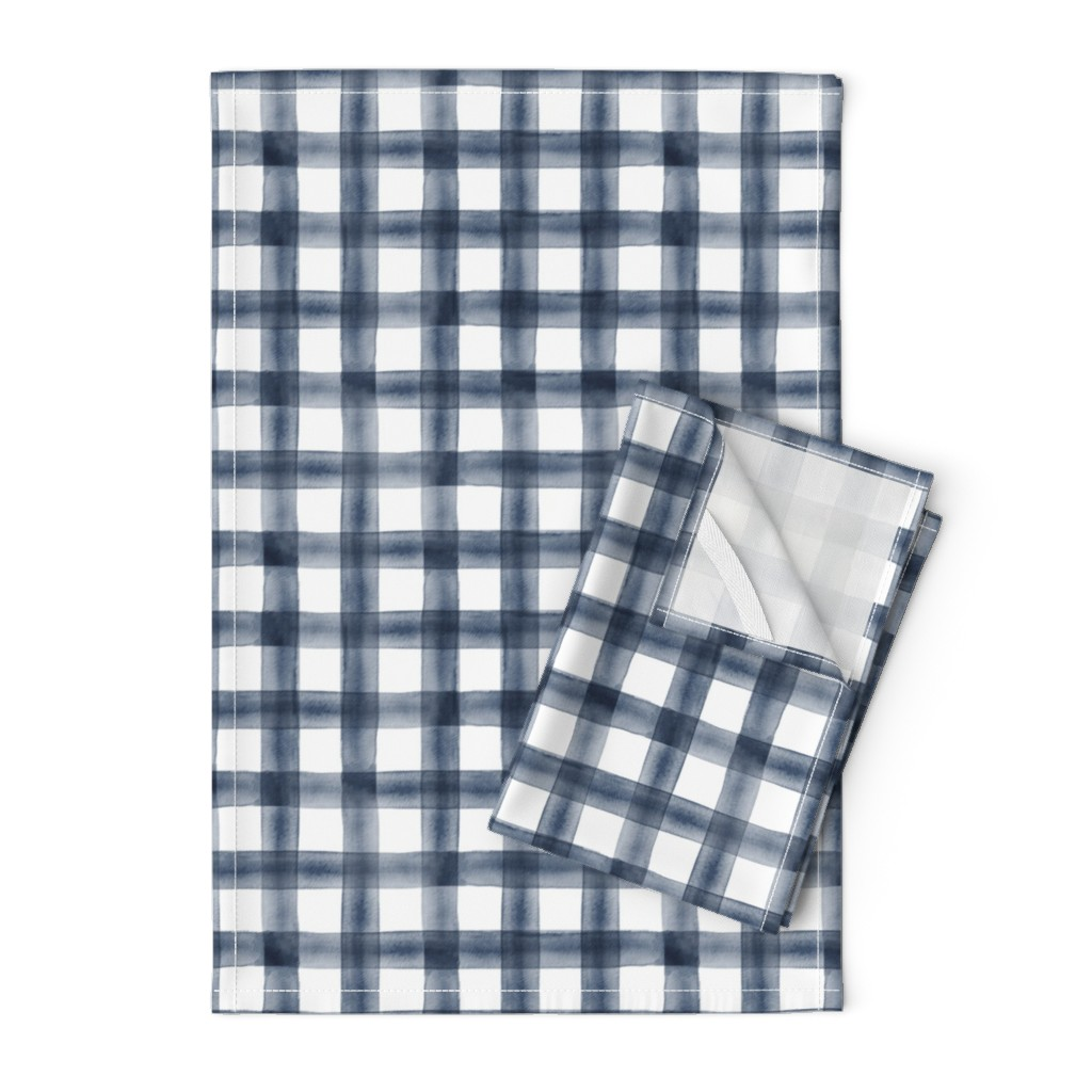 Orpington Tea Towels featuring watercolor plaid || navy by littlearrowdesign