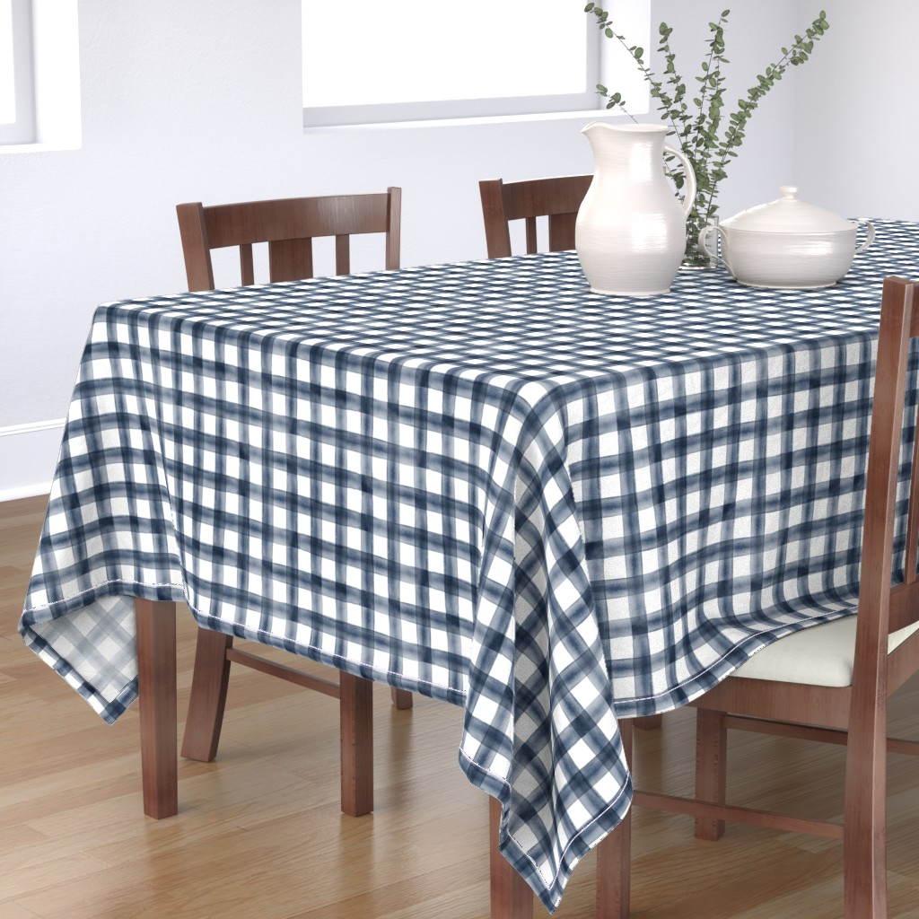Bantam Rectangular Tablecloth featuring watercolor plaid || navy by littlearrowdesign