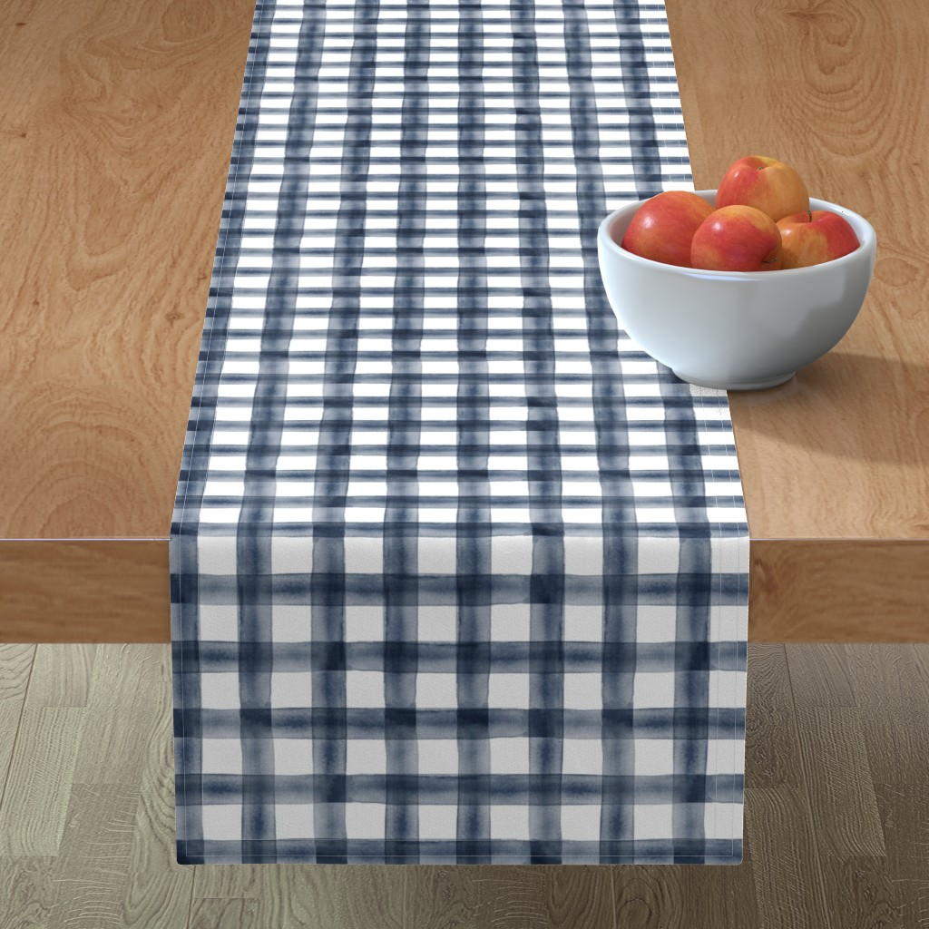 Minorca Table Runner featuring watercolor plaid || navy by littlearrowdesign