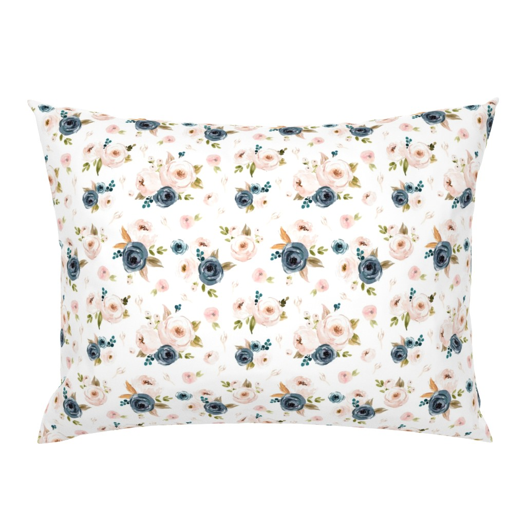 Campine Pillow Sham featuring blue floral smaller by hudsondesigncompany