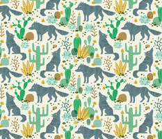 Wolf in the cactus desert green/mustard