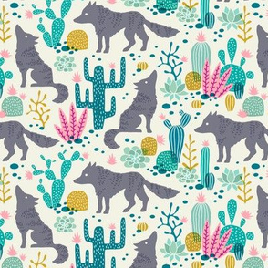 Wolf in the cactus desert turquoise/pink (small)