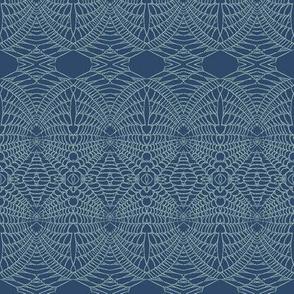 Spider Web (Green on Indigo)