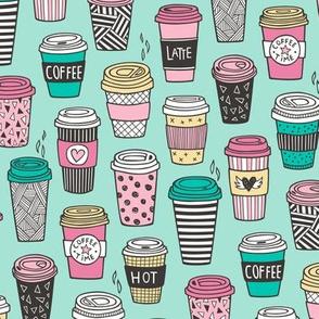 Coffee Latte Geometric Patterned Black & White Pink Mint Yellow on Mint Green
