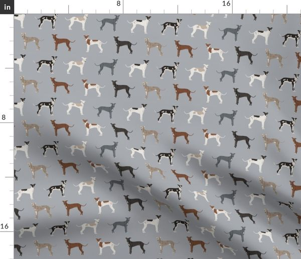 Fabric By The Yard Italian Greyhound Fabric Cute Dogs Coat Colors And Markings Dog Fabric Design
