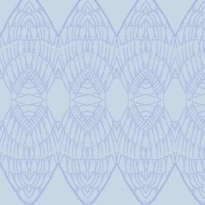 Lace Shield (Periwinkle on Pale Blue)