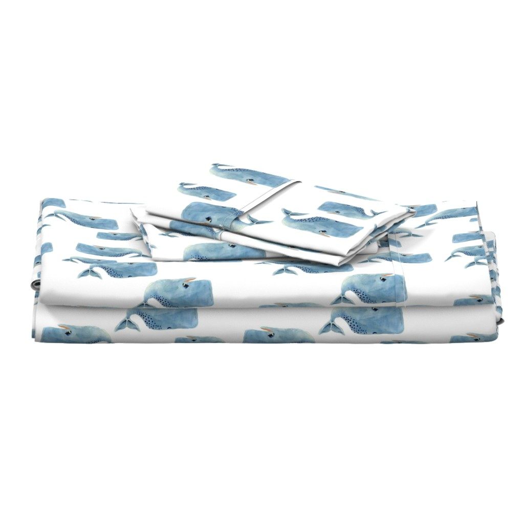 Langshan Full Bed Set featuring Whale Pod in Blue - Rotated by taraput