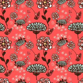Spring floral on Coral