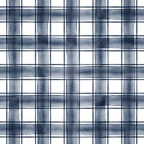 watercolor plaid || navy double