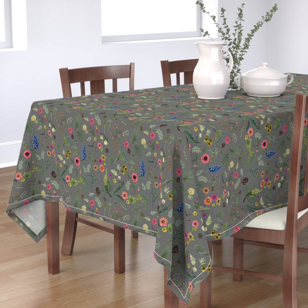 Bantam Rectangular Tablecloth featuring Updated Sierra Wedding - grey linen by cinneworthington