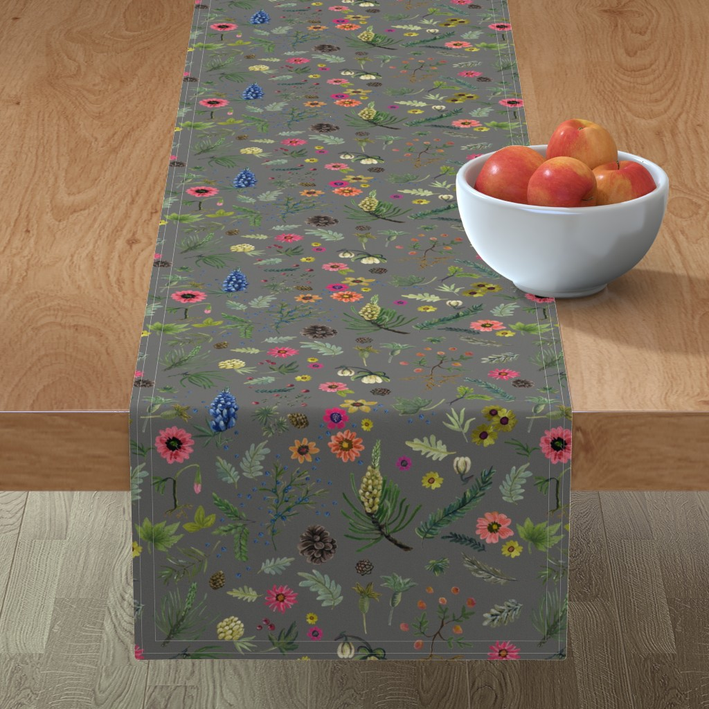 Minorca Table Runner featuring Updated Sierra Wedding - grey linen by cinneworthington