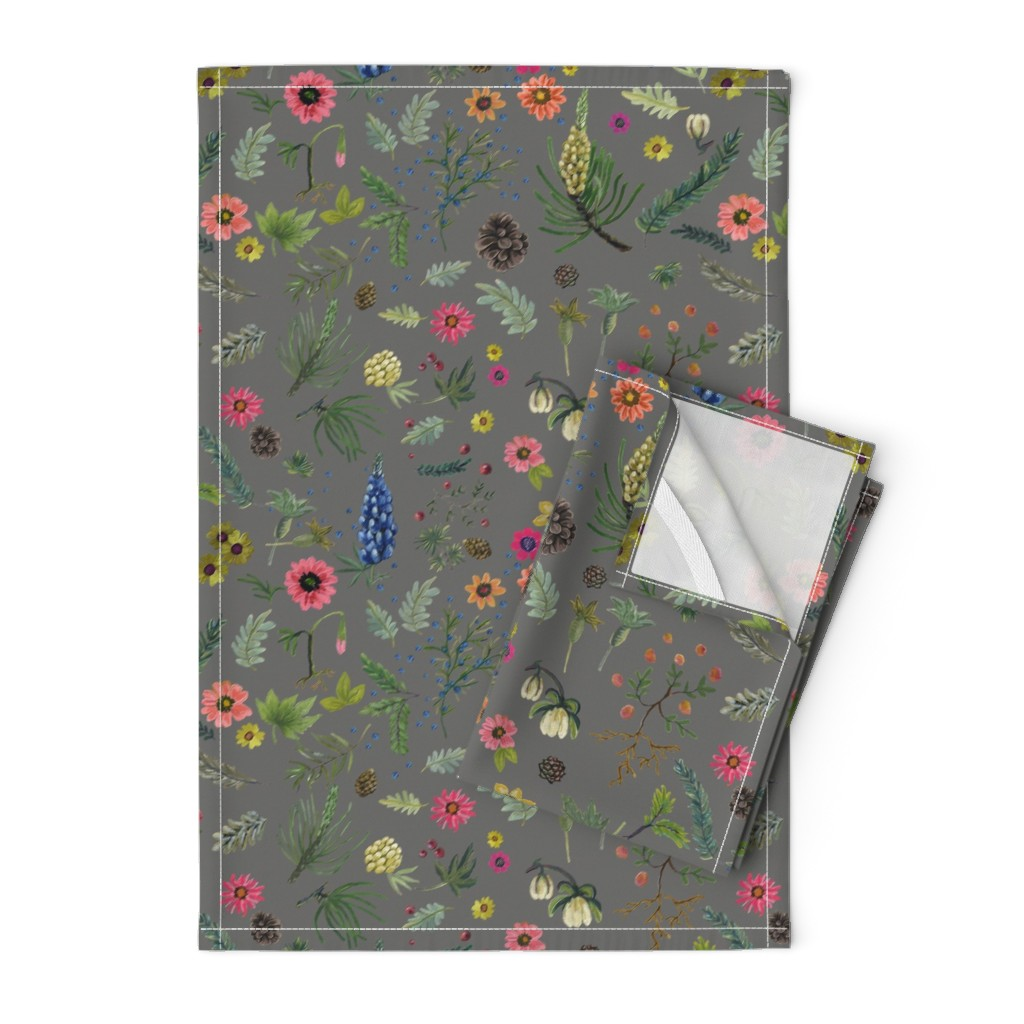 Orpington Tea Towels featuring Updated Sierra Wedding - grey linen by cinneworthington