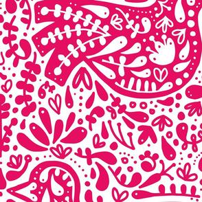 Folk Bird - Pink - Large!