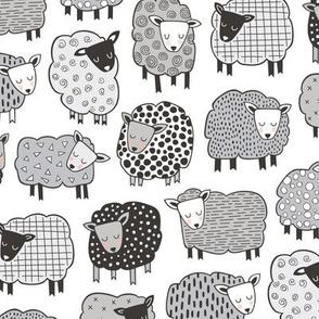 Sheep Geometric Patterned Black & White Grey  on White