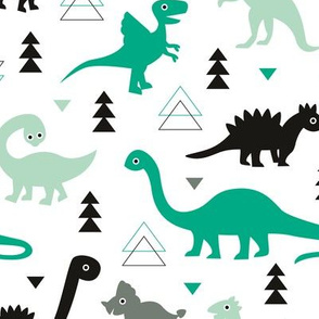 Adorable dino boys fabric with black and green dinosaur geometric triangles and funky animal illustration theme for kids