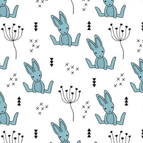 Adorable little baby bunny geometric scandinavian style rabbit for kids gender neutral black and white blue