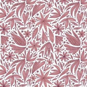 dusty pink botanical pattern