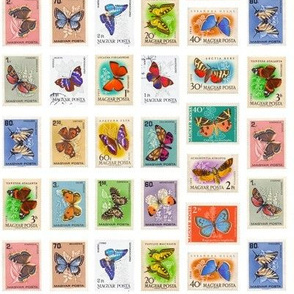 butterfly postage stamps from Hungary, life-sized on white