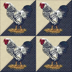 Silver Laced Wyandotte Rooster Dots on Navy Triangles
