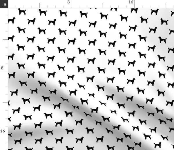 Fabric By The Yard Poodle Silhouette Fabric Best Dogs Quilting Fabric Dog Design White And Black