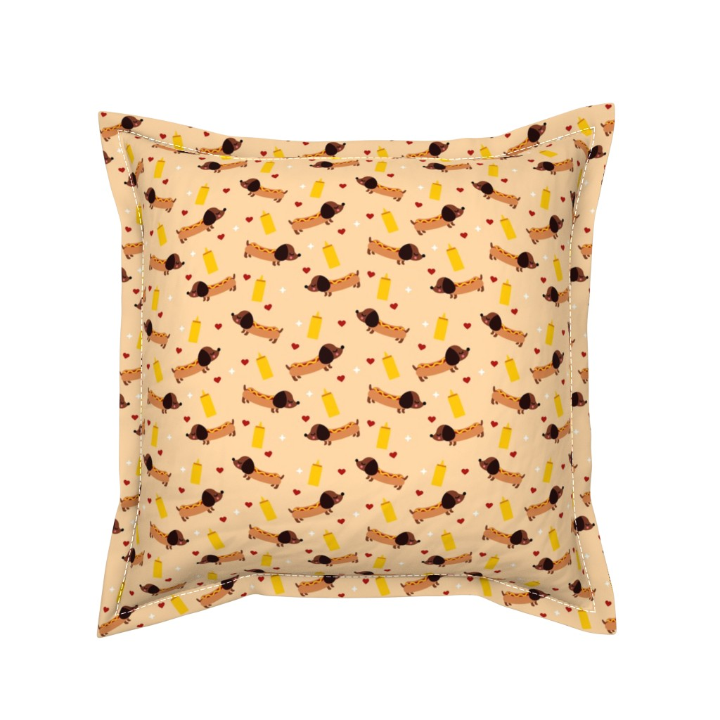 Serama Throw Pillow featuring Hot Dogs by emandsprout