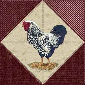 Silver Laced Wyandotte Rooster Barn Red On Point
