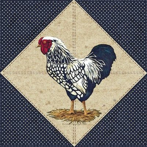 Silver Laced Wyandotte Rooster Cream Dots on Navy On Point