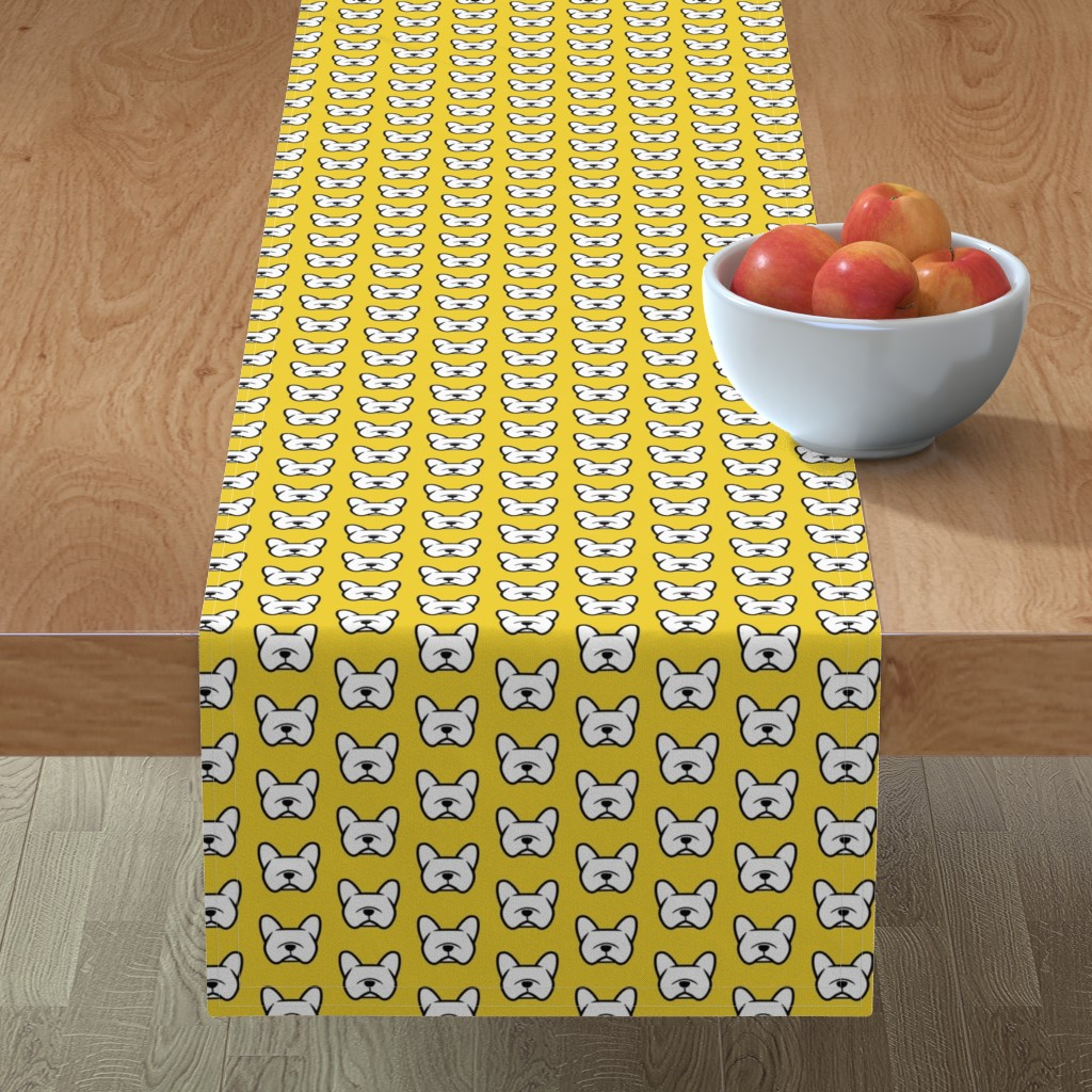 Minorca Table Runner featuring French Bulldogs  on a bright sunny yellow  by cheekyhodgepodge