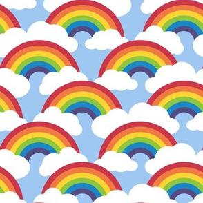 medium circle rainbow - blue skies