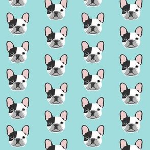french bulldog black and white head frenchie dog fabric - lite blue