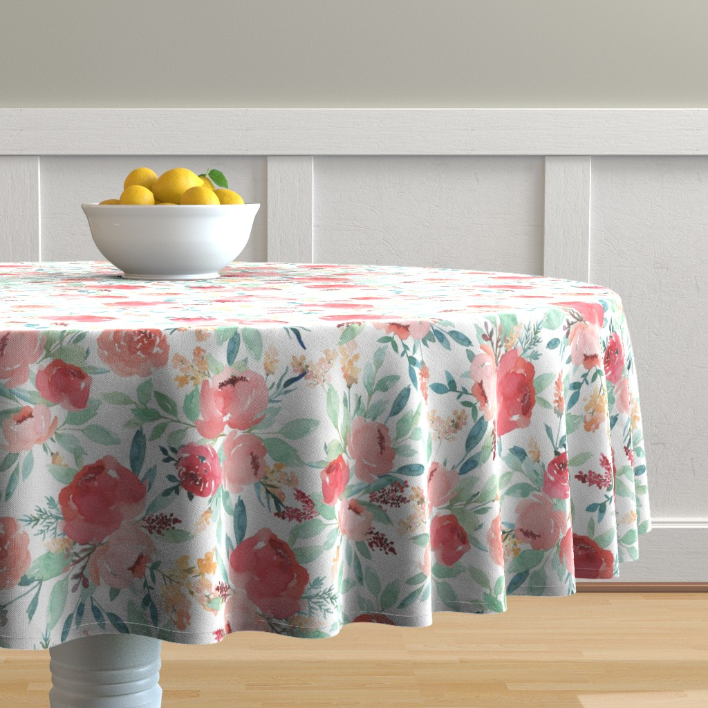 Malay Round Tablecloth featuring Small Watercolor Flowers on White by taylor_bates_creative