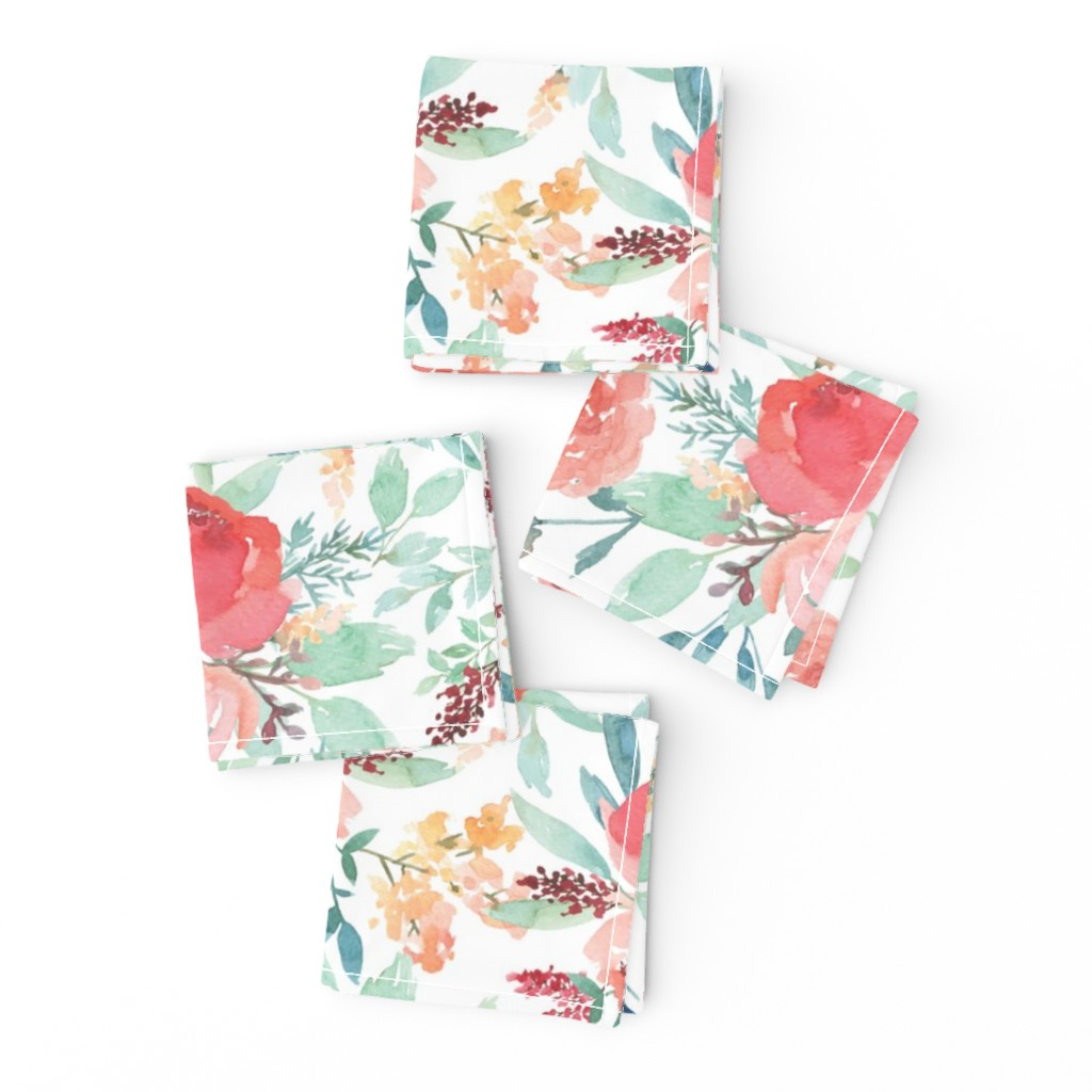 Frizzle Cocktail Napkins featuring Small Watercolor Floral on White by taylor_bates_creative