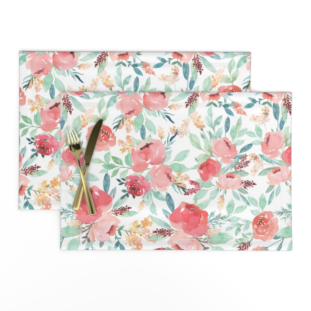 Lamona Cloth Placemats featuring Small Watercolor Floral on White by taylor_bates_creative