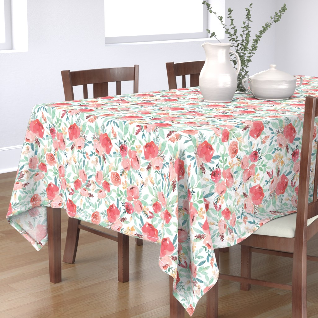 Bantam Rectangular Tablecloth featuring Small Watercolor Floral on White by taylor_bates_creative