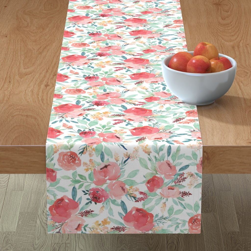 Minorca Table Runner featuring Small Watercolor Floral on White by taylor_bates_creative