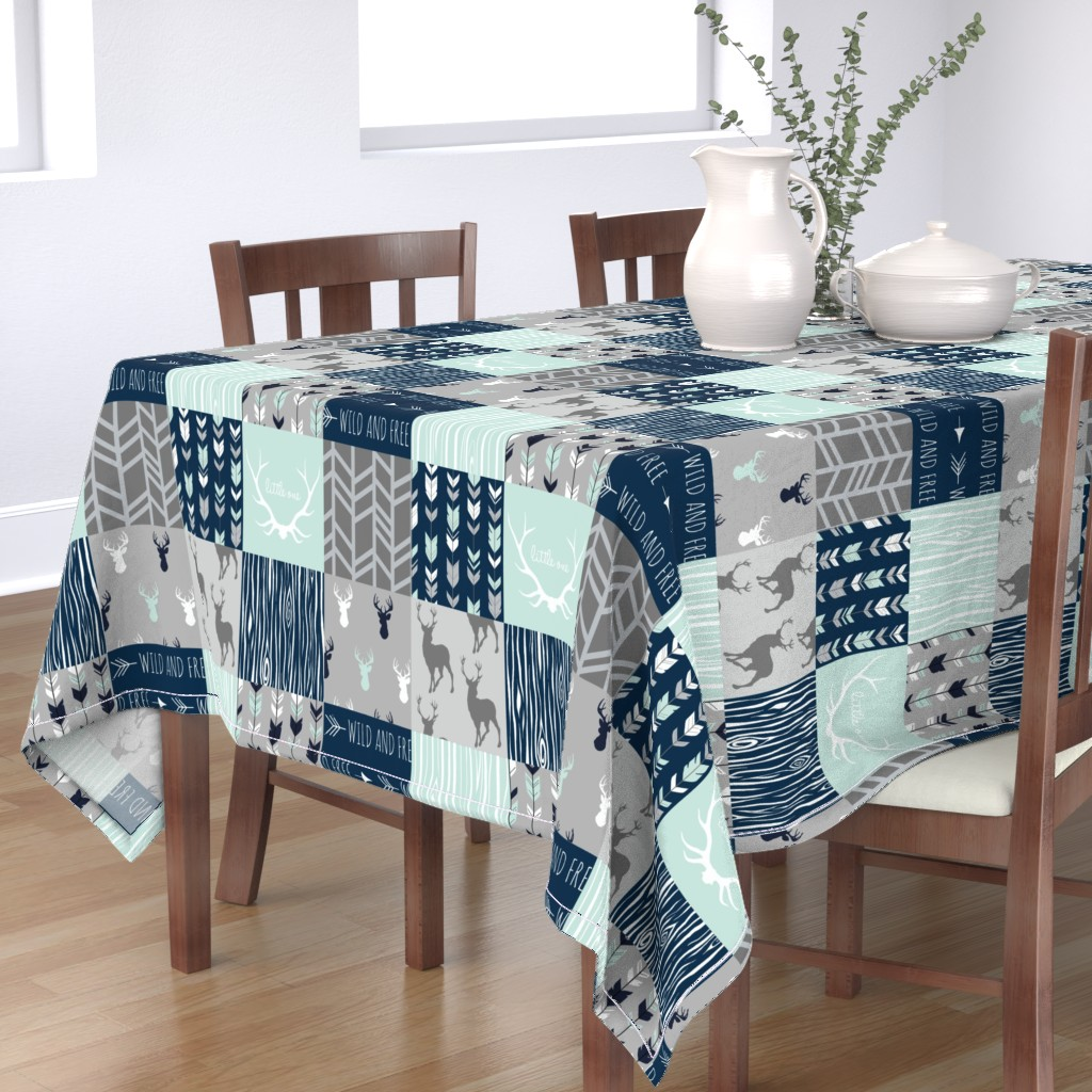 Bantam Rectangular Tablecloth featuring Patchwork Deer in mint,navy, grey by sugarpinedesign
