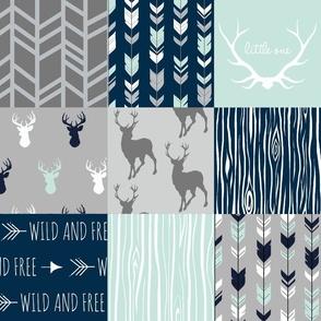 Patchwork Deer in mint,navy, grey