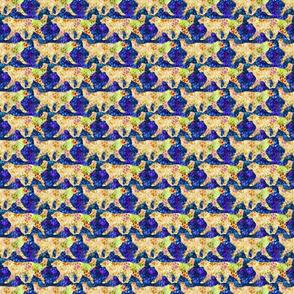 Cosmic trotting Leonberger - night
