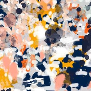 stella  - abstract art print on fabric navy white orange interior decor bright abstract