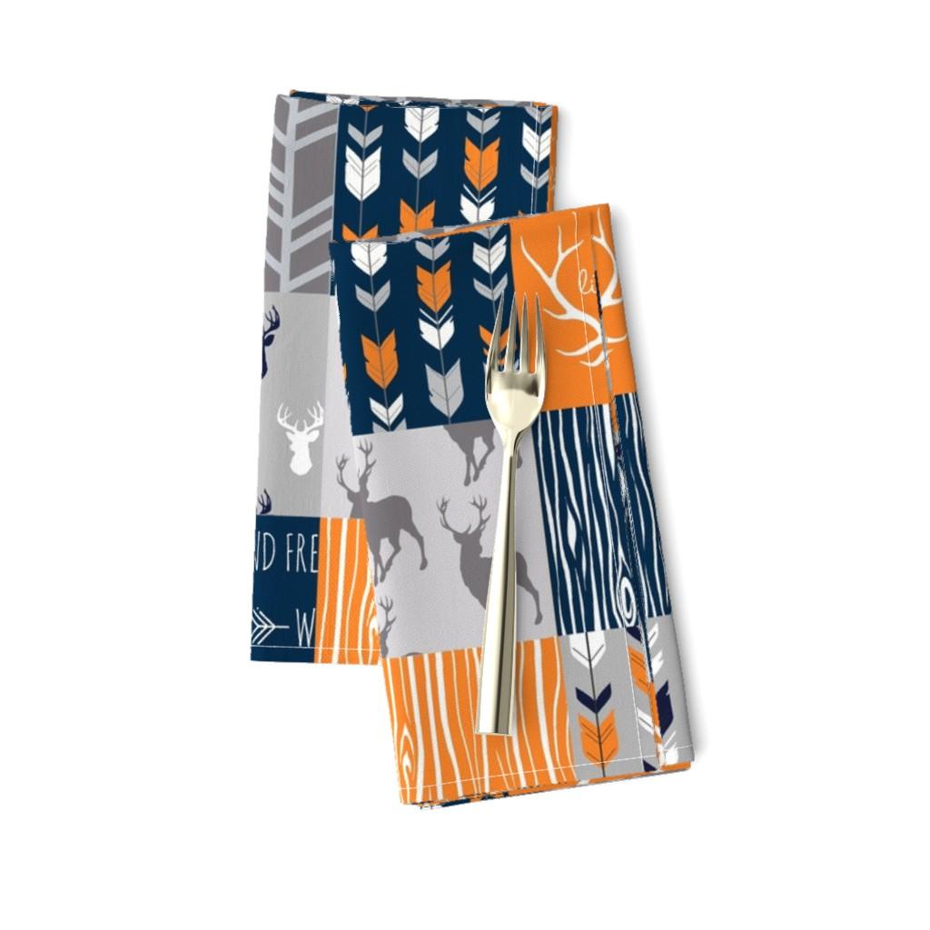Amarela Dinner Napkins featuring Patchwork Deer in orange,navy, grey- Wholecloth cheater quilt - baby boy nursery - broncos by sugarpinedesign